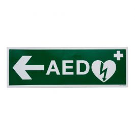Sticker AED pijl links (300 x 100 mm)
